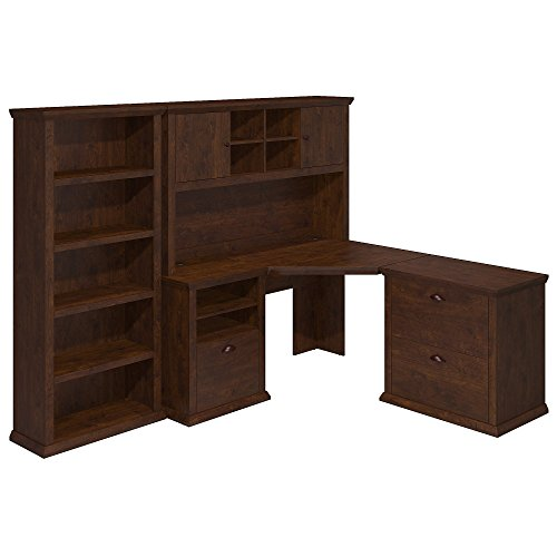 Bush Furniture Yorktown Corner Desk with Hutch, Lateral File Cabinet and Bookcase in Antique Cherry