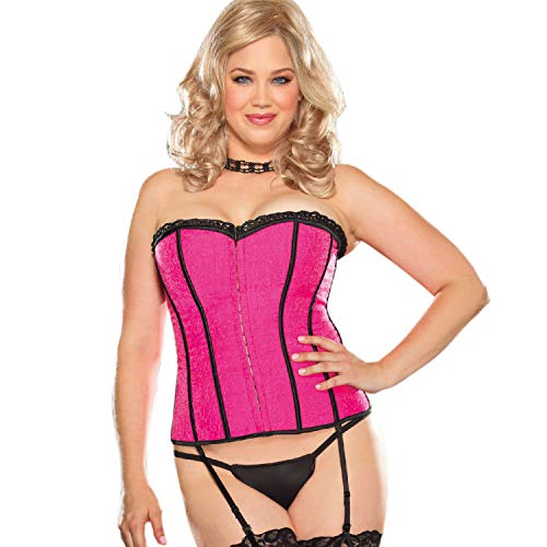 Dreamgirl Women's Plus Size Fully Reversible Corset, Hot Pink/Coral 42 -