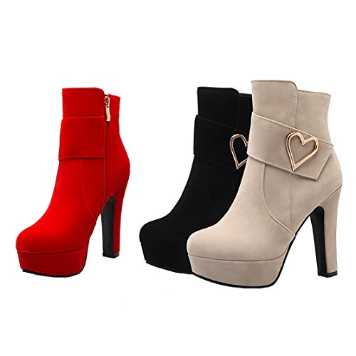 Thick Ankle Decoration Toe Zipper Boots Red Mental Winter Bootie Women's AIYOUMEI Autumn Heel Round Platform 8qxwZ7Hp1