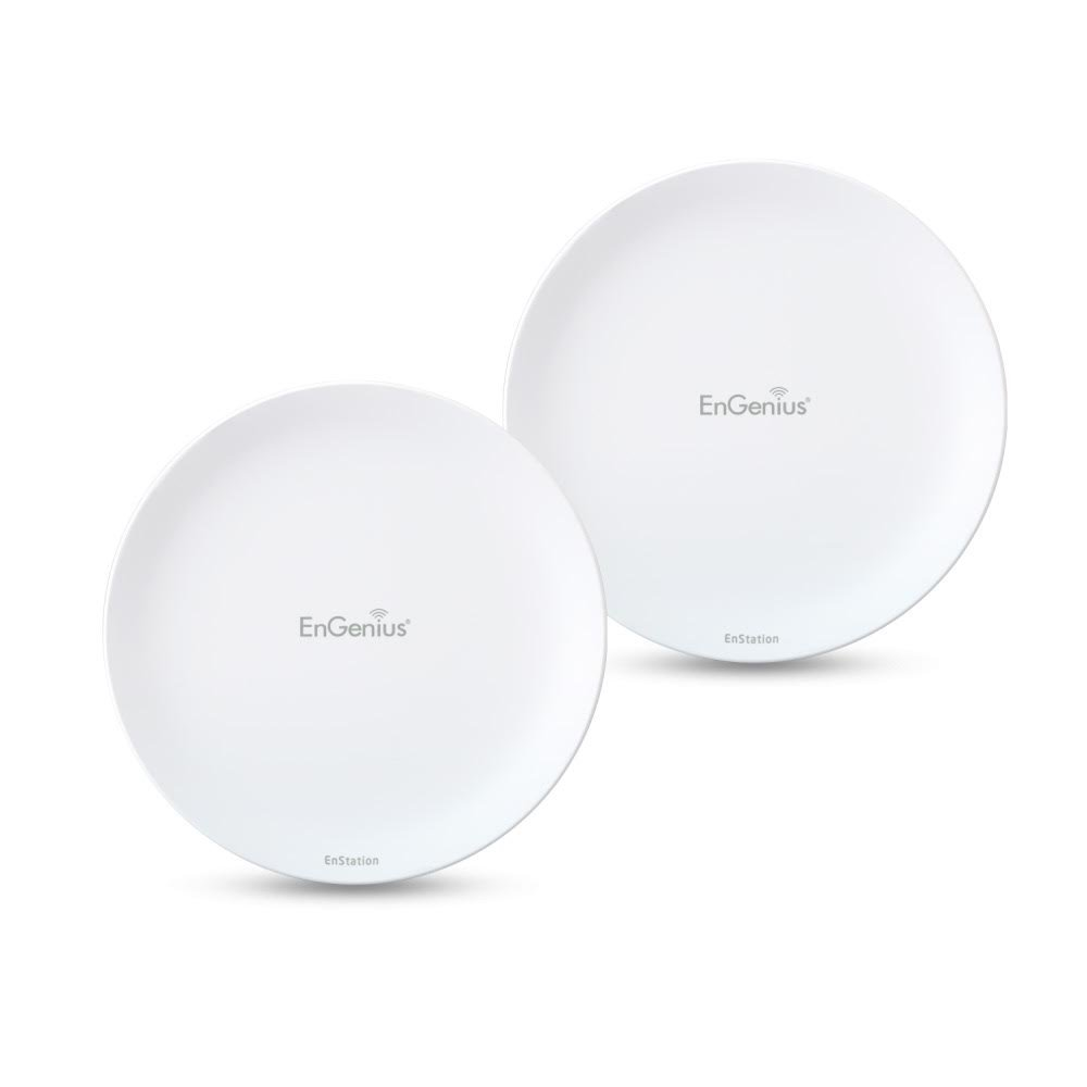 EnGenius Wireless Outdoor AP/Client Bridge/CPE, directional antenna, long-range, point-to-point, IP55, 26 dBm,19 dBi, Gigabit Port, 802.3af/at PoE, [2-Pack] (N-EnStationAC Kit)