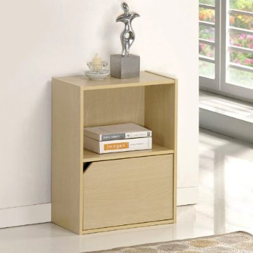 Furinno 11204SBE Pasir 2 Tier Bookcase with 1 Door with out Handle, Steam Beech
