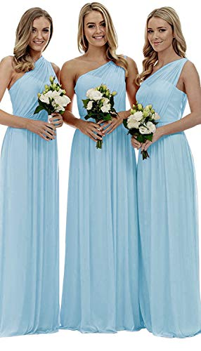 - Staypretty Bridesmaid Dresses for Women Long One Shoulder Asymmetric Chiffon Prom Evening Gown Sky Blue 8
