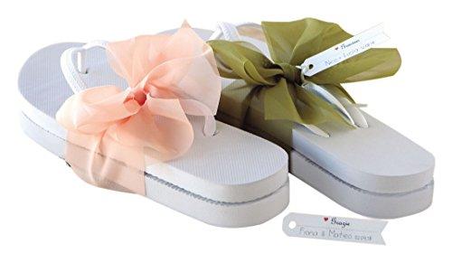 Mopec aa503 – Flip Flop weiß mit Schleife und Lachs Grün Größe M Sortiert, 6-er Pack