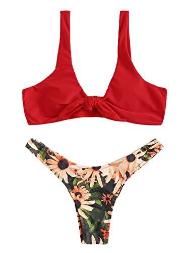 SweatyRocks Women's Sexy Bikini Swimsuit Soild Color Tie Knot Front Thong Bottom Swimwear Set Multi S