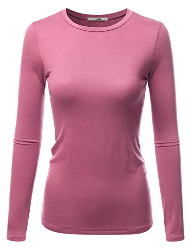 LALABEE Women's Casual Long Sleeve Crewneck Stretch Slim Fit Basic Top T-Shirt BURNTPINK S