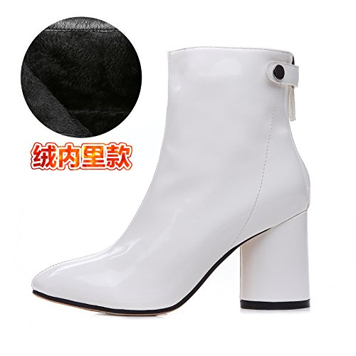 White With Heeled Cashmere Leather All Shoes Boots Boots Match Thick Shoes High Winter GUNAINDMXThe Sx7w11