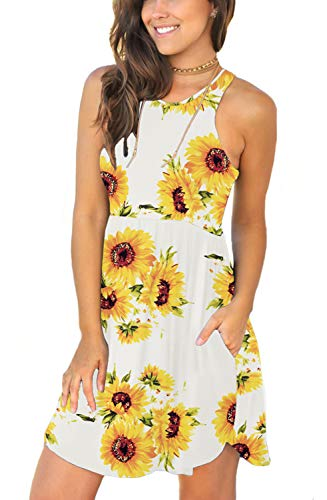 Women's Sleeveless Summer Floral Print Dresses Casual Short Dress with Pockets Floral Sunflower White Small ()
