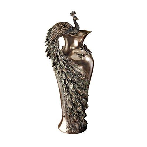 Design Toscano Peacock Centerpiece Home Decor Sculptural Vase, 19 Inch, Polyresin, Bronze Finish