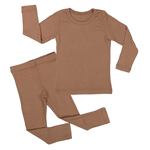 AVAUMA Baby Boy Girl Long Sleeve Ribbed Pajamas Set Snug-Fit Fall Winter Pjs Sleepwear Kids Toddler (JM / 6T - 7T, Camel(L))