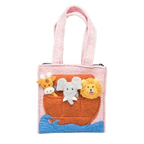 Handmade Felt Puppet - our green house Toddler Tote Bag - Felt Noah's Ark Puppet Bag