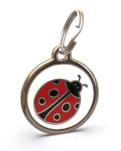 UNLEASHED.DOG Customizable Engraved Dog ID Tag - Stainless Steel with Ladybird Enamel Inlay - Large
