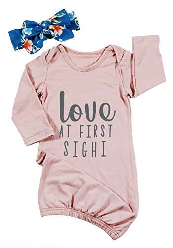 Baby Girl Love at First Sight Letter Print Gown Sleepwear Coming Home Outfit Size 0-6 Months/Tag70 (Pink)