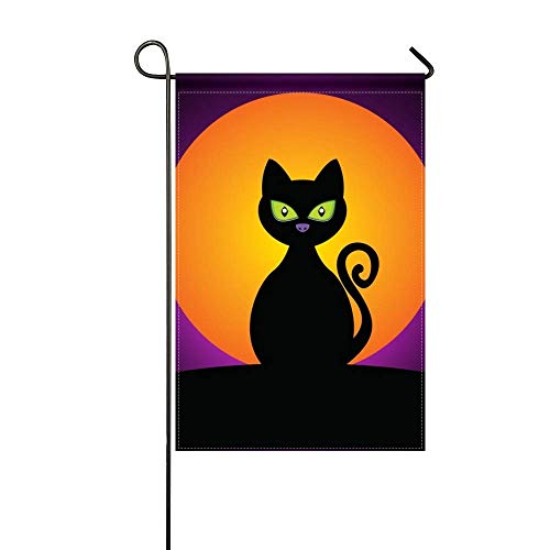 DongGan Garden Flag Cat Black Halloween Moon Silhouette 12x18 Inches(Without Flagpole) -