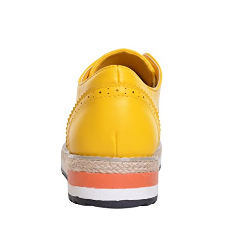 Cher Temps Creepers Brogue Chaussures Bonbons Couleurs Vintage Oxfords Baskets Plate-forme Jaune