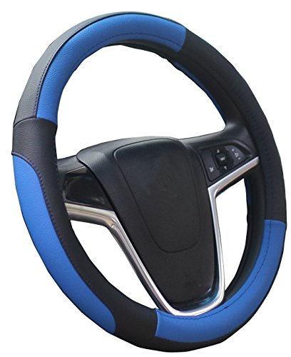 (Mayco Bell Car Steering Wheel Cover 15 Inches Comfort Durability Safety (Black Blue))