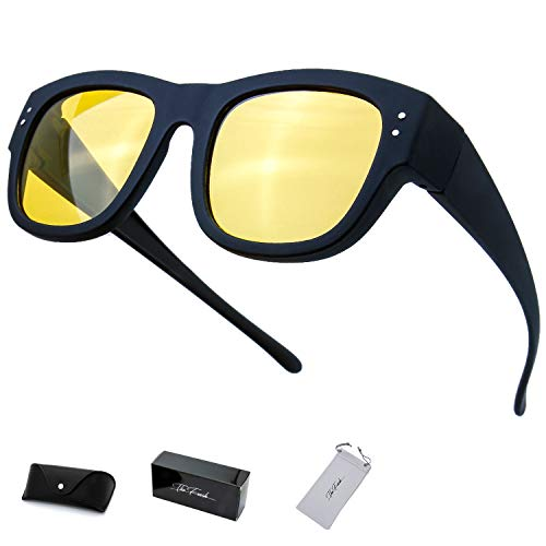 (The Fresh High Definition Polarized Wrap Around Shield Sunglasses for Prescription Glasses - Gift Box Package (601N-Matte Black 'Soft Touch', Yellow Night Vision Driving))
