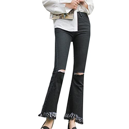 ouxiuli Women Holes Jeans Bottom Denim Pants Stretch High Waist Slim Light Blue Trousers