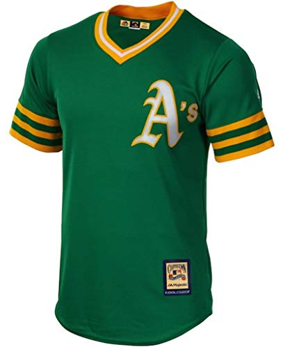 Majestic Oakland A's MLB Mens Cool Base Cooperstown V Neck Jersey Green Big & Tall Sizes - Cooperstown Jersey