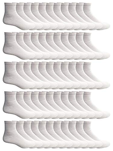 WSD Mens Ankle Socks, Wholesale Bulk Pack Athletic Sports Sock (180 Pairs White) by Wholesale Sock Deals (Image #1)