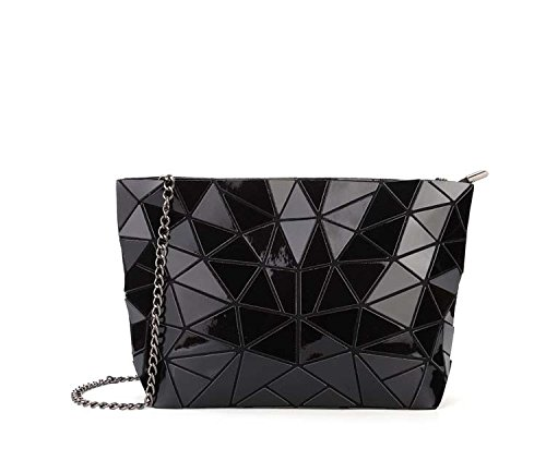 Meoaeo Cadena Geométrica Bolso Bolsa De Cuero De Moda Paquete Xiekua Plateado De Hombro black