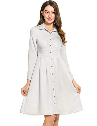 ANGVNS Womens Sleeve Button Down Casual