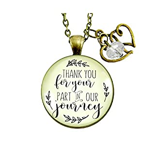 """Gutsy Goodness 24"""" Wedding Officiant Gift Necklace Thank You for Your Part Heart Charm"""