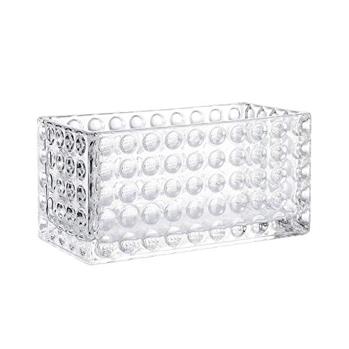 Whole Housewares Glass Dimple Cube Vase Rectangle Glass Candle Holder Centerpiece (1 Pack, 4X8 Inch)