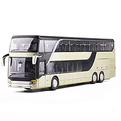 Dragon Honor 1:32 Alloy Pull Back Bus Model Double Sightseeing Bus Flash Toy Vehicle Kids Toys Birthday Gifts (Grey): Toys & Games