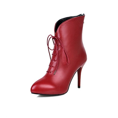 versatile boot the high the week and ladies and QXTip Red heeled short ZQ for shoes barrel fine of aq7E1A