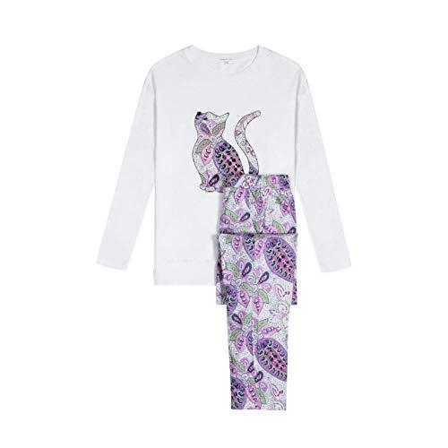 Pijama Cintura Mujer Larga Cuello Cartoon Camison A Alta Cute Estilo Patrón Pantalones Especial Manga O Ropa Dormir De Camisas PgSq1vP