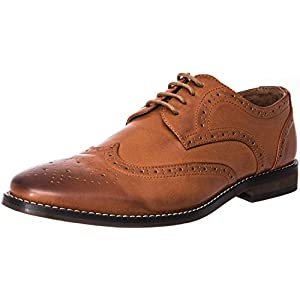 J's.o.l.e Men's Leather Lined Wingtip Lace Oxford Dress Shoes Brown US 12