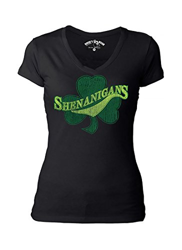 Irish Shirt Womens Cute Shenanigans Shamrock Clover Vneck Tshirt ()