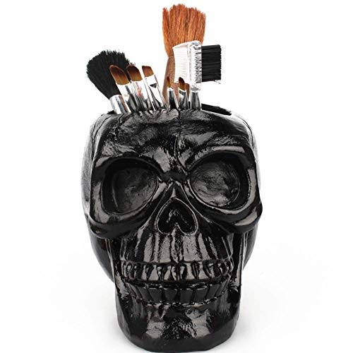 ZOOARTS Black Skull Makeup Brush Door Vase Makeup Organizer Gothic Horror ()