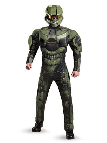 Disguise Men's Halo Deluxe Muscle Master Chief Adult Costume, Green, X-Large