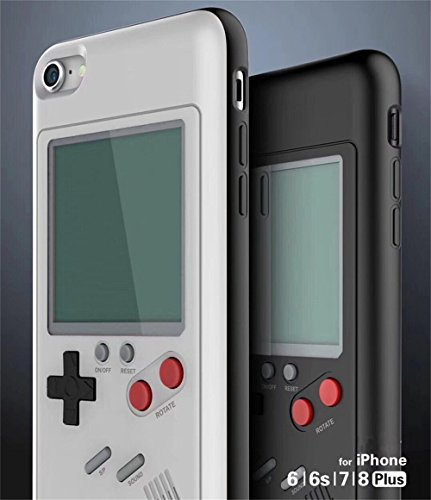 Case Game Covers Video (INNO Tetris Video Game Cover Case For iPhone 7/8 Plus Creative Shockproof Case Cover Gift For Child Kids Boys Girls (White, iPhone 7 plus / 8 plus))