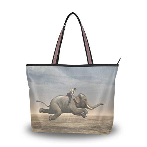 Man Riding Elephant Shoulder Bags Large Handle Ladies Handbag