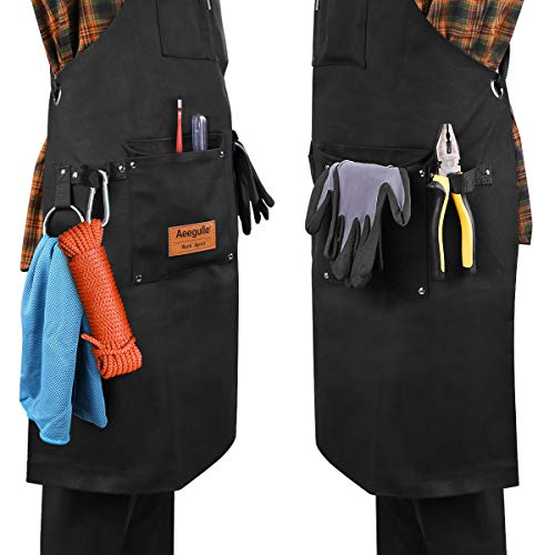 Aeegulle Work Apron, Heavy Duty Waxed Canvas Tool Apron (With work gloves), 6 Pockets, Thick shoulder pad, Quick Release Buckle, Cross-Back Straps Adjustable M to XXL, Apron for Men & Women(black) by Aeegulle (Image #3)