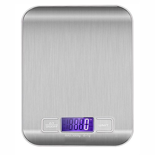 Portable Digital Kitchen Scale Multifunction Kitchen Food Scale 11lb/5kg Stainless Steel Platform Scale with LCD Display, 60 Months Warranty