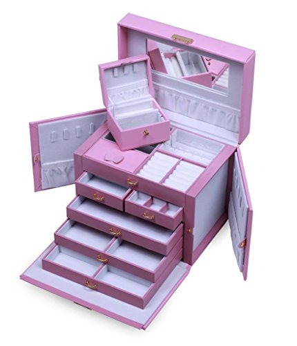 HUGE PINK LEATHER JEWELRY BOX WITH TRAVEL CASE AND LOCK