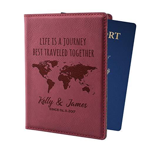Personalized Passport Holder w Name and Quote - Custom Engraved Leather Passport Cover for Women and Men - Christmas Gifts for Travelers, Christmas, Honeymoon, Travel Gifts | Life is A Journay