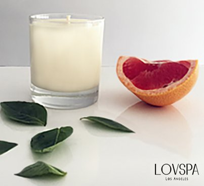 LOVSPA White Grapefruit Aromatherapy Candle | Tart Pomelo Grapefruit, Lily of the Valley & Coriander Blossom | Natural & Long-Lasting | Made in the USA by LOVSPA