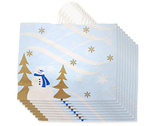 Blue Snowman Snowflake Christmas Gift Bags (Large) - 10 pack - 16 x 13 x 6 inches.