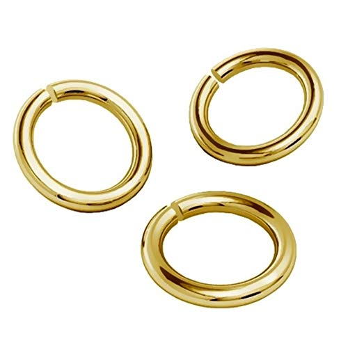 My-Bead 10 Pieces Ø 2mm x 1mm Wire 18 Gauge Jump Rings 925 Sterling Silver 24K Gold Plated nickelfree findings Open Eyelet DIY