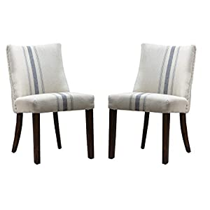 Christopher Knight Home Harman Dining Chair, Blue Stripe On Linen