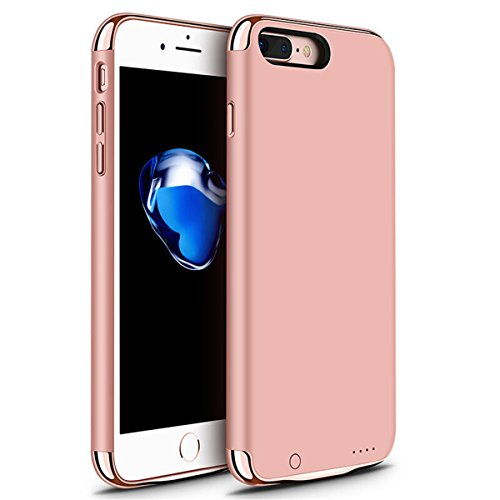 iPhone 6/6s/7 Plus Battery Case, GIZEE Ultra Slim 3 In 1 Metal Textured 4000 mAh Portable Protective Charging Case for Apple iPhone 6 Plus/ iPhone 6S Plus/ iPhone 7 Plus 5.5 Inch - Rose Gold