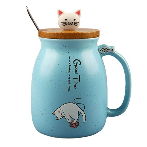 15oz Cute Cat Ceramic Mug, 450ml Milk Coffee Tea Cup With Spoon And Three-dimensional kitty Wood Lid, Heat-Resistant Cartoon Kitten Mugs For Children Office Lovers
