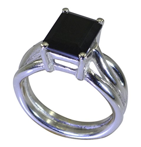 Gemsonclick Real Black Onyx Ring Women Silver Princess Shape Prong Style Handmade Size 5,6,7,8,9,10,11