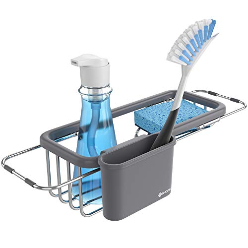 (Shanik Premium Quality Sink Organizer - Soap and Sponge Holder for the Kitchen Sink, Sponge Rack with Rack and Cup for Kitchen Sink Accessories, Adjustable Length 11.8 Inch to 16.8 Inch)