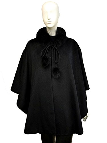 Cashmere Pashmina Group:Cashmere Cape w/genuine Fox Fur Collar & Fox pompom ties (Black) by Cashmere Pashmina Group (Image #3)