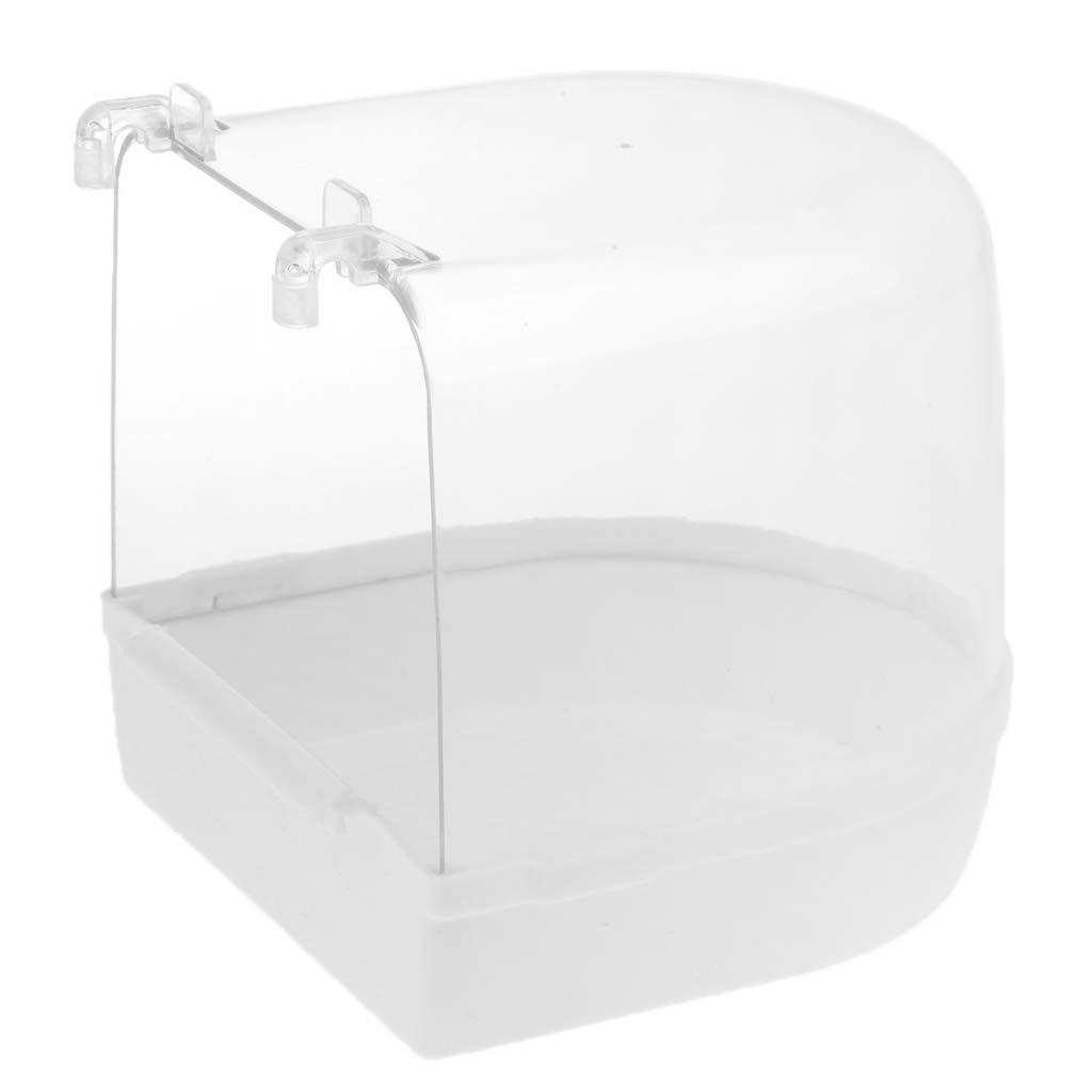 Baosity Bird Bathtub Bath Clean Box Toy Accessory for Budgie Canary Finches Cage Clip-on 13 x 13 x 13 cm - White